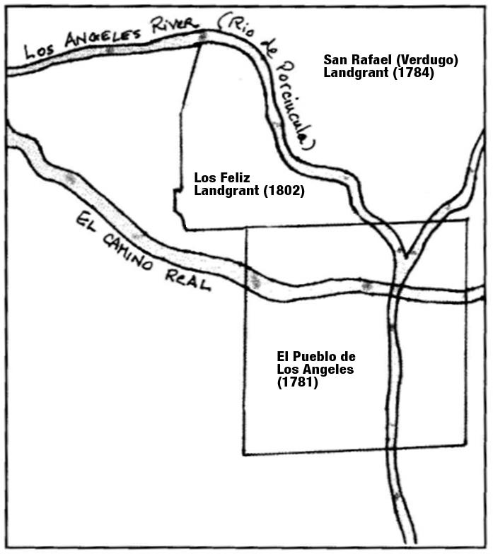Historic Los Angeles Map showing 1802 Rancho Los Feliz land grant